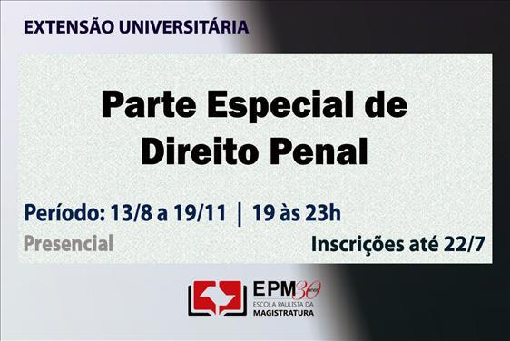 EPM realizará o curso de extensão 'Parte Especial de Direito Penal'